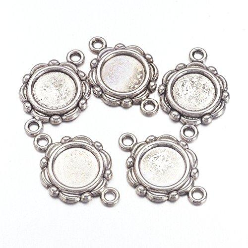 Pandahall 20pcs Vintage Tibetan Style Antique Silver Blank Bezel Cabochon Settings 10mm Inner Diameter Flat Round Frame Pendant Tray Charms Lead Free & Nickel Free