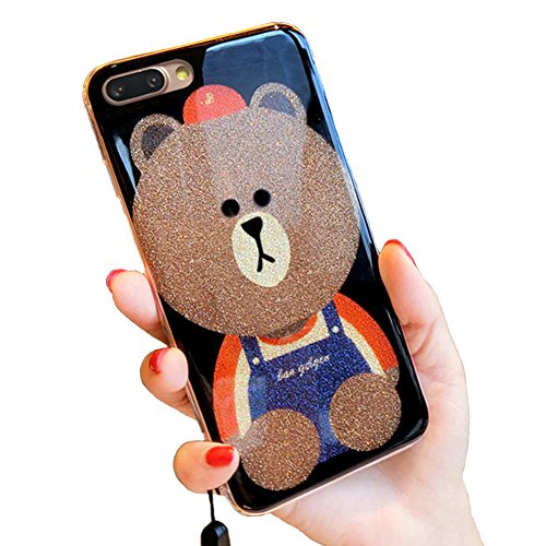 UnnFiko iPhone 6 Plus Glitter Case, 3D Teddy Bear Brown iPhone 6s Plus Bling Cute Soft Silicone Rubber Protective Case for Girls (Bear (Bling Teddy)