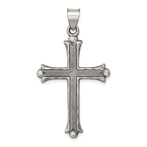 Polished and Brushed Latin Cross Pendant Sterling Silver Antiqued