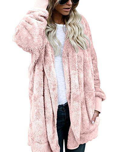 BONESUN Women's Open Front Cardigan Faux Fur Hoodie Sweaters With Pockets Pink XL (Hooded Cardigan Pink)