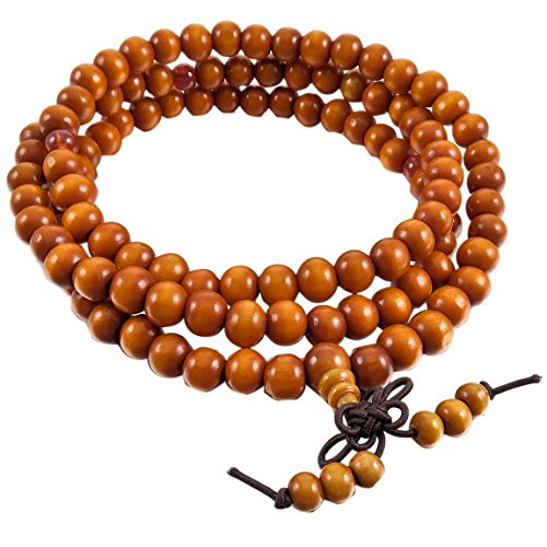INBLUE Men,Women's 8mm Wood Bracelet Link Wrist Necklace Chain Tibetan Buddhist Brown Sandalwood Bead Prayer Buddha Mala Chinese knot Elastic (Buddha Costume)