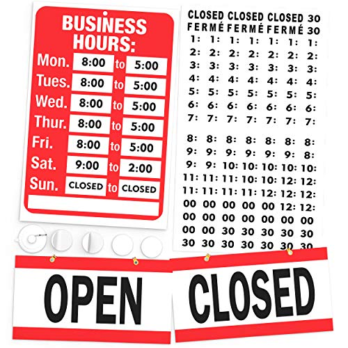 Open Closed Sign, Business Hours Sign Kit - Bright Red and White Colors - Includes 4 Double Sided Adhesive Pads and a Black Vinyl Number Sticker Set - Ideal Signs for Any Store, Business, Office from Generation Neon