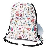 Original Floral Drawstring Bag String Backpack for Travel,Gym,School,Beach