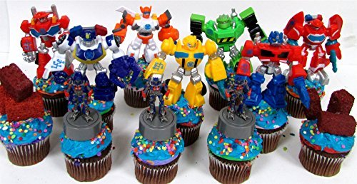 Transformers Cupcake (12 Piece TRANSFORMER Birthday Cupcake Topper Set Featuring RANDOM Transformer Figures and Accessories)