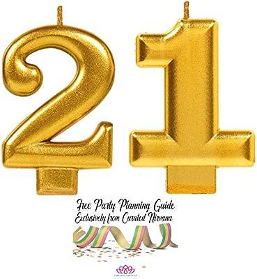 Amazon.com: Paquete de velas de 21 cumpleaños con curación ...
