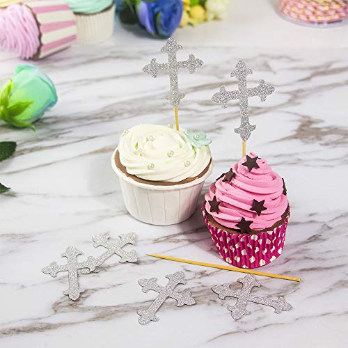 JOLALIA 50PCS Cross Cupcake Toppers, DIY Cupcake Decoration, Cross Party Supplies for Baptism Decorations, Christening Party, Confirmation Wedding (Silver) by JOLALIA (Image #1)