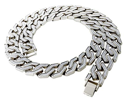 Miami Cuban Link Chain Necklace in Silver Finish - Rectangular Cut