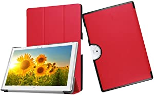 DETUOSI Iconia One 10 Case B3-A40,Acer Iconia One 10 B3-A40 Case,Soft Slim Back Cover 3-Folding Case for Acer Iconia One 10 B3-A40 Folding Case with Stand Features,Red
