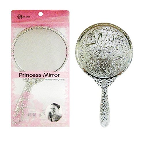 - 777 Vintage Style Silver Round Decorative Hand Mirror Purse Mirrors Small