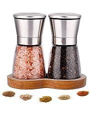 LessMo salt och pepparkvarnar med boktstativ (2 st) – premiumset med salt och pepparmajs kvarnar med justerbar keramisk grovhet – borstat rostfritt stål och glaskarkar