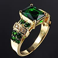 Siam panva 18K Yellow Gold Filled Emerald Wedding Ring Women/Mens Party Jewelry Sz 6-12 (10)
