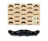 Mozlly Value Pack - Accoutrements All Purpose Mustache Silicone Baking Mold - 16 inch - AND Mustache Gift Wrap - Includes two 20 x 30 inch - Novelty Baking and Wrapping Supplies (2 items)