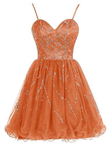 Bbonlinedress Vestido De Fiesta Corto Con Tirantes Escote Corazón De Tul Con Cuentas Naranja