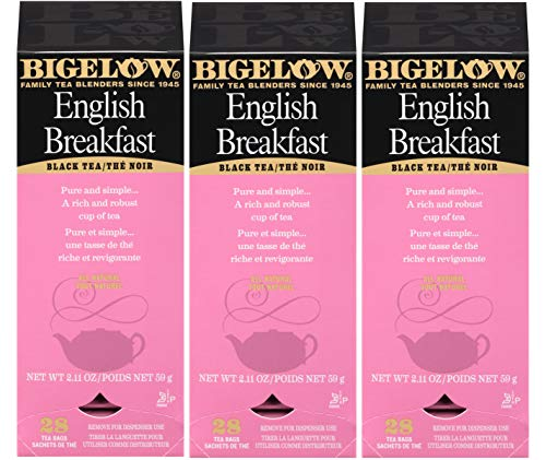 Bigelow English Breakfast Tea 28-Count Box (Pack of 3) Full-Caffeine Premium Black Tea Bold Antioxidant-Rich Full-Caffeine Black Tea in Foil-Wrapped Bags