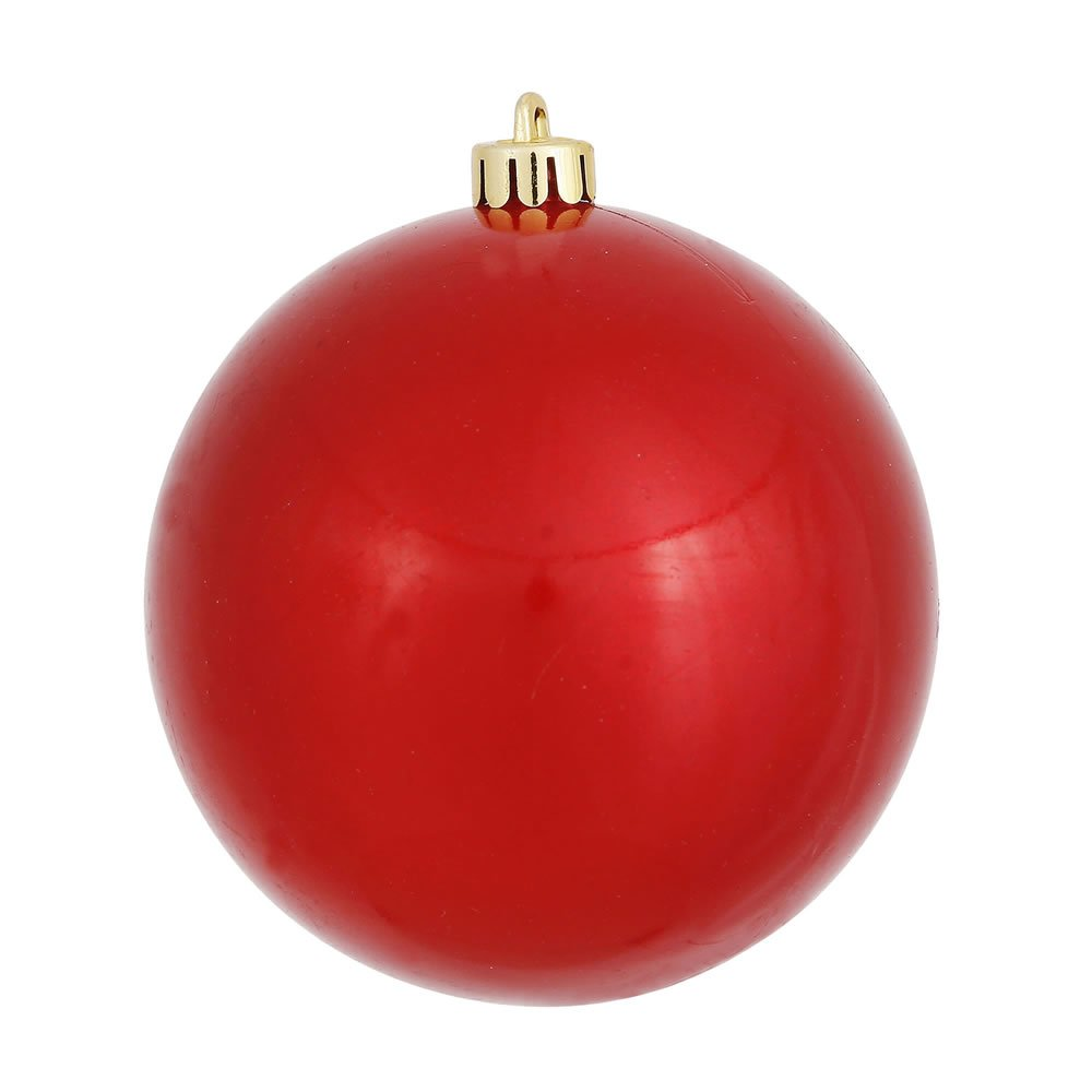 Vickerman Candy Finish Seamless Shatterproof Christmas Ball Ornament, UV Resistant with Drilled Cap, 12 per Bag, 3'', Red
