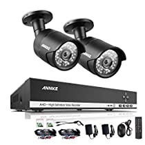 ANNKE 4CH 720P CCTV DVR + (2) 720P HD Cameras Vandalproof Security Camera System with Internet Access, Scan QR Code, Quick Remote Viewing NO HDD Included