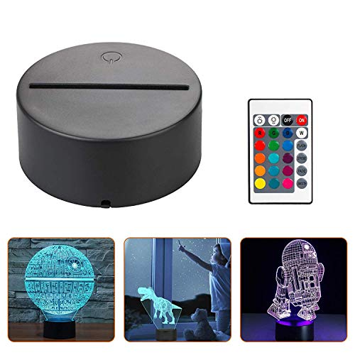 4X 3D Night LED Light Lamp Base + Remote Control + USB Cable Adjustable 7 Colors Decorative Lights for Child Room Bedroom