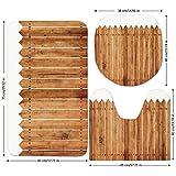 3 Piece Bathroom Mat Set,Farm-House-Decor,Triangle-Edged-Timber-Border-Stripes-Siding-Woodwork-Enclosing-Tool-Image,White-Brown.jpg,Bath Mat,Bathroom Carpet Rug,Non-Slip