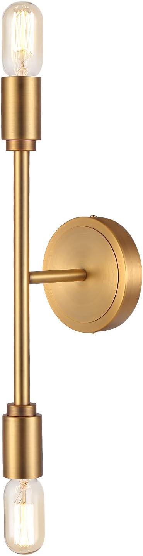 Haultop Gold Bathroom Light Fixtures, 2 Lights Gold Vanity Light for Bathroom, Mid Century Bathroom Lights Over Mirror, Brushed Brass Wall Sconces for Bath, Bedroom, Vanity, Mirror Cabinet