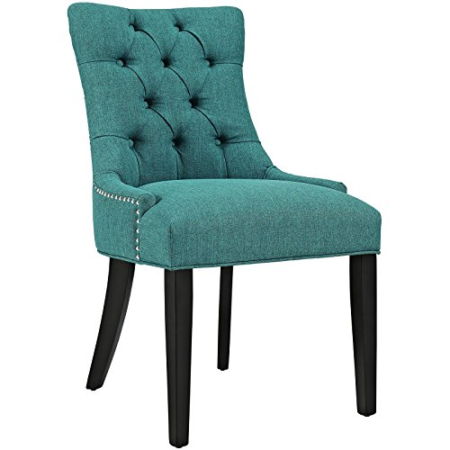 (Modway Regent Modern Tufted Upholstered Fabric Kitchen and Dining Room Chair with Nailhead Trim in Teal)