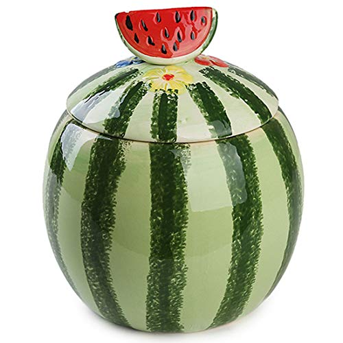 Cool Lemon 3D Watermelon Ceramic Ornaments Candy Snack Tank Jar Containers Storage Canister Lidded Cookie Jar Decorative Jar for Home Decoration ()