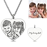 Necklace Custom Photo Necklace Heart Personalized Message pendant Christmas Birthday Gift