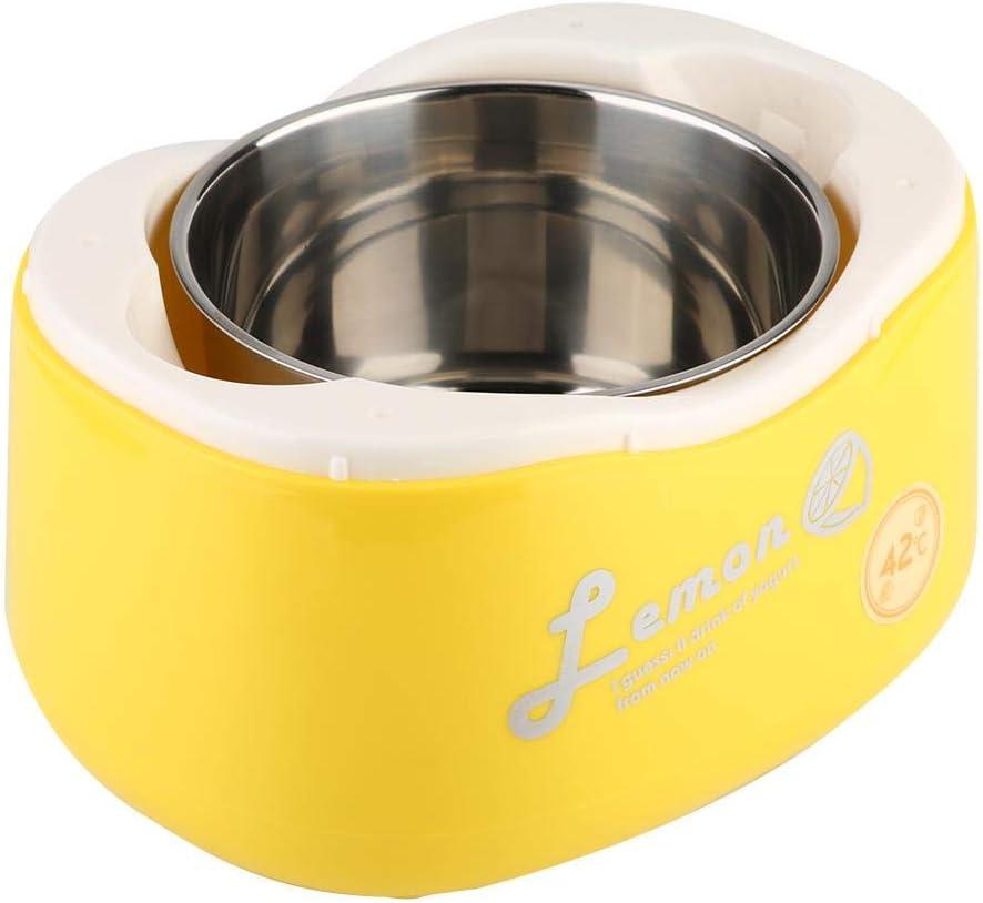 Yogurt Maker, Mini yogur eléctrico automático de acero inoxidable, Yogurt casero natural y saludable, 220V/50Hz(amarillo) Amarillo