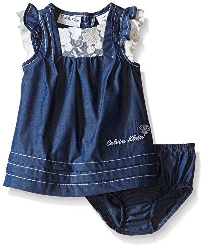 Calvin Klein Baby Girls' Dark Chambray Dress With Panty, Blue, 6-9 Months