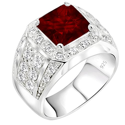 Men's Sterling Silver .925 Princess-Cut Ring Featuring a Synthetic Red Ruby Surrounded by 32 Fancy Round Prong-Set Cubic Zirconia Stones, Perfect for the Holidays Fine Mens Ring