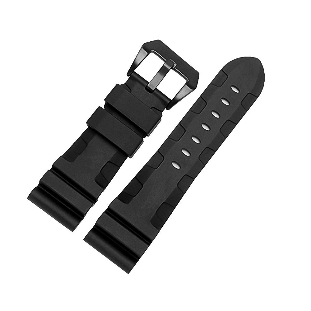 24mm Rubber Diver Replacement Watch Band PVD Buckle fit for Men Panerai Luminor Radiomir 42mm