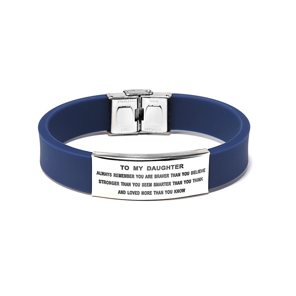 Freedom Love Gift To My Daughter Always Remenber You Are Braver Girls Bracelet Gift Idea from Dad and Mom (Blue)