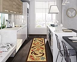 Ottomanson Sara\'s Kitchen Paisley Design Mat Runner Rug with Non-Skid (Non-Slip) Rubber Backing, Beige, 20\