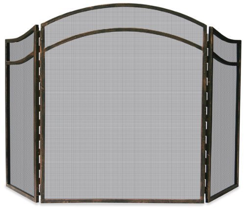 - Uniflame, S-1692, 3 Fold Antique Rust Wrought Iron Arch Top Screen by Uniflame