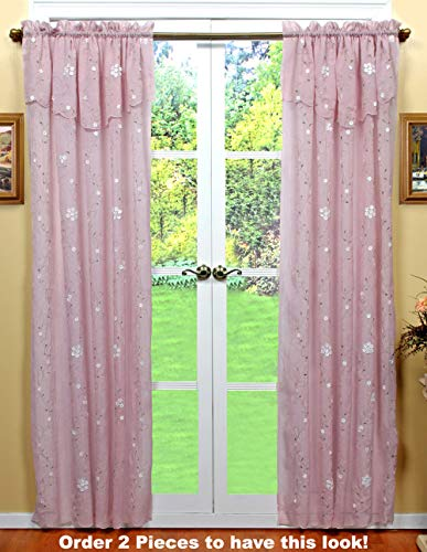 Creative Linens Daisy Embroidered Floral Window Curtain Panel 50x84 in 6 Colors - Gold, Ivory, Lavender, Mint Green, Pink, Taupe One Piece (Pink)