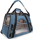 Airline Approved Pet Carriers w/ Fleece Bed For Dog & Cat - Soft Sided Kennel - Small, Mineral Blue