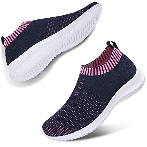 (JIASUQI Womens Gilrs Slip on Athletic Casual Walking Work Shoes Fashion Sneakers Blue 7.5)