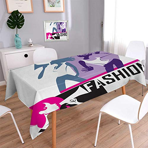 - Anmaseven Teen Girls Rectangle Washable Tablecloth Composition of Girls Yelling into Megaphone Modern Stylish Fashion Themed Art Waterproof Tablecloths Purple Black Size: W54 x L90
