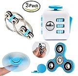 Meanleaf 3 Pack Fidget Toys,Hybrid ceramic bearing Fidget tri-Spinner,Fidget Cube,Bike Fidget Chain for ADD ADHD Stress And Anxiety Relief(Blue Set)
