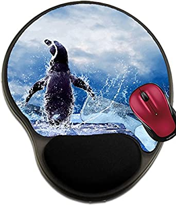 Liili Mousepad wrist protected Mouse Pads/Mat with wrist support design Penguin on the Ice in water drops IMAGE ID 9850948