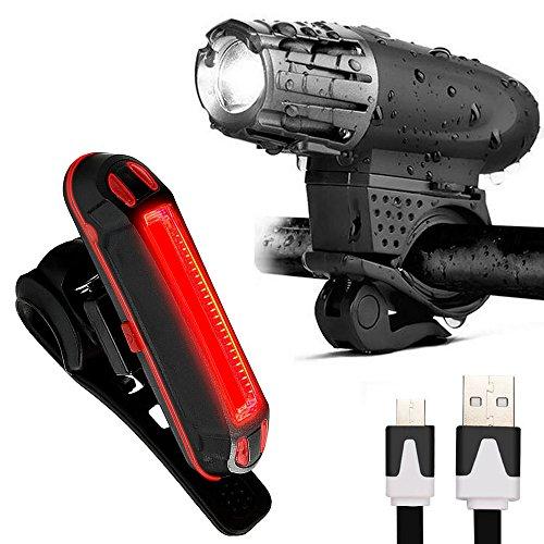 LED Fahrradbeleuchtung , Icesnail Fahrradlicht USB Wiederaufladbare Frontlicht und Rücklicht Set, LED Wasserdichte Fahrradlampe Set, 300Lumen 4/6 Licht-Modi Licht für Fahrrad