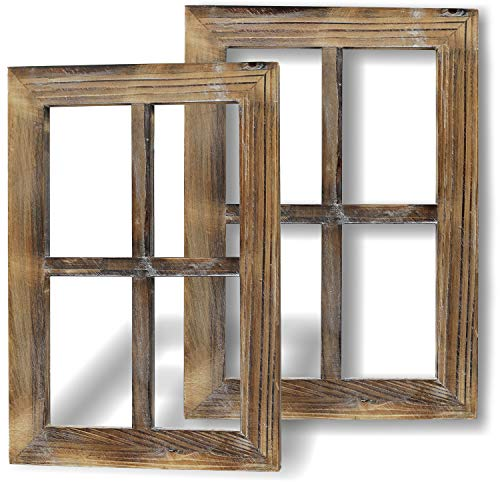 Greenco Wooden Rustic Mount Window Frames Vintage Country Farmhouse Wall Décor-Set of 2