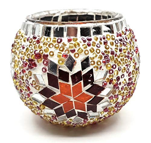 Handmade Traditional Turkish Mosaic Glass and Bead Candle Holder Large (Silver/Red)