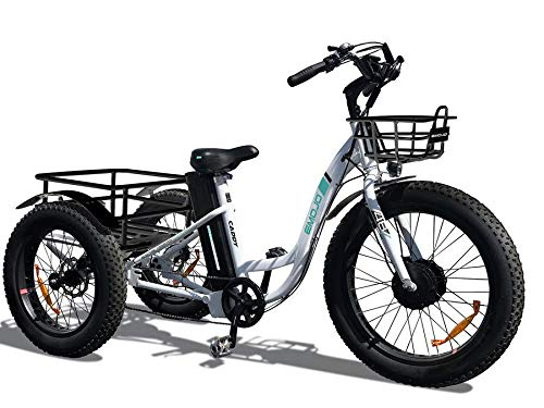 Emojo Caddy Tricycle White 48V 500W Electric Tricycle 24 Inch Fat Tire Electric Trike 3 Wheel E-Bikes 500W Electric Bike Lithium Battery Rear Basket Cargo
