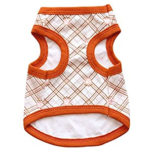 BBEART Pet Clothes, Puppy Cat Vest Geometrical Pattern T-shirt Spring Clothing Sleeveless Harness Summer Breathable Teddy Clothes Costume For Small Dogs (XS, Camel)