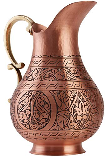 DEMMEX The Pitcher, 1mm Solid Copper Handmade Engraved Copper Pitcher Vessel Ayurveda Jug for Drinking Water, Moscow Mule, Cocktail (Matte-Engraved) by DEMMEX (Image #1)