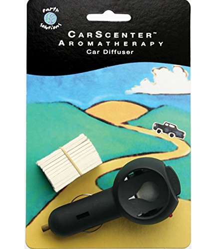(Earth Solutions Car Diffuser Essential Oils, CarScenter Powered Aromatherapy Diffuser for Essential Oil, Portable Air Freshener for Car w/Refillable Cotton Pads, Plugs into Cigarette Lighter Socket)