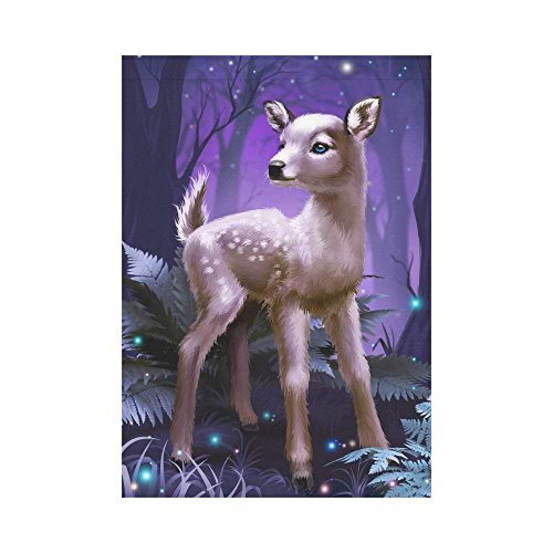 HUVATT Fantasy Deer Baby Polyester Garden Flag Outdoor Banner 28 x 40 inch, Sparkling Fireflies Decorative Large House Flags for Party Yard Home Decor -