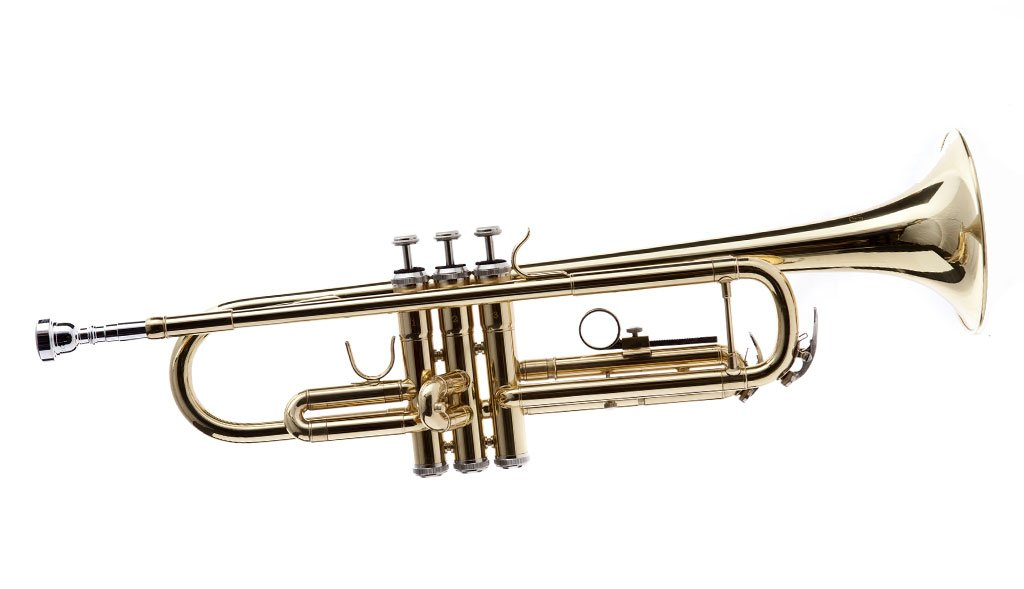 Fever WTRUM-GD Trumpet with Case and Mouthpiece, Gold Lacquer