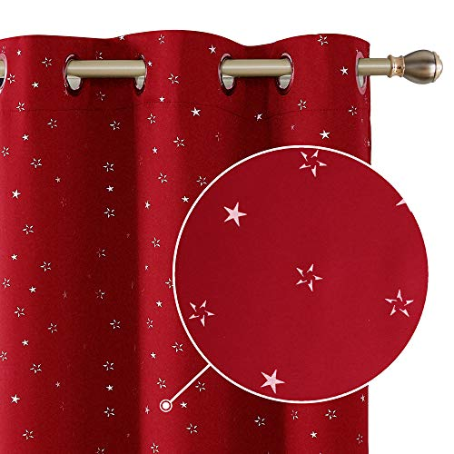 (Deconovo Silver Star Foil Print Grommet Blackout Curtains Thermal Insulated Room Darkening Window Curtain Drapes for Bedroom 38 x 63inches Red 2 Panels)