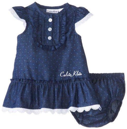 Calvin Klein Baby-Girls Newborn Chambray Dress with Panty, Chambrey, 6-9 Months